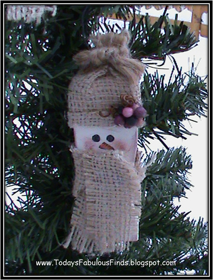Today 39 s fabulous finds paint stick snowman tutorial for Snowman made out of burlap