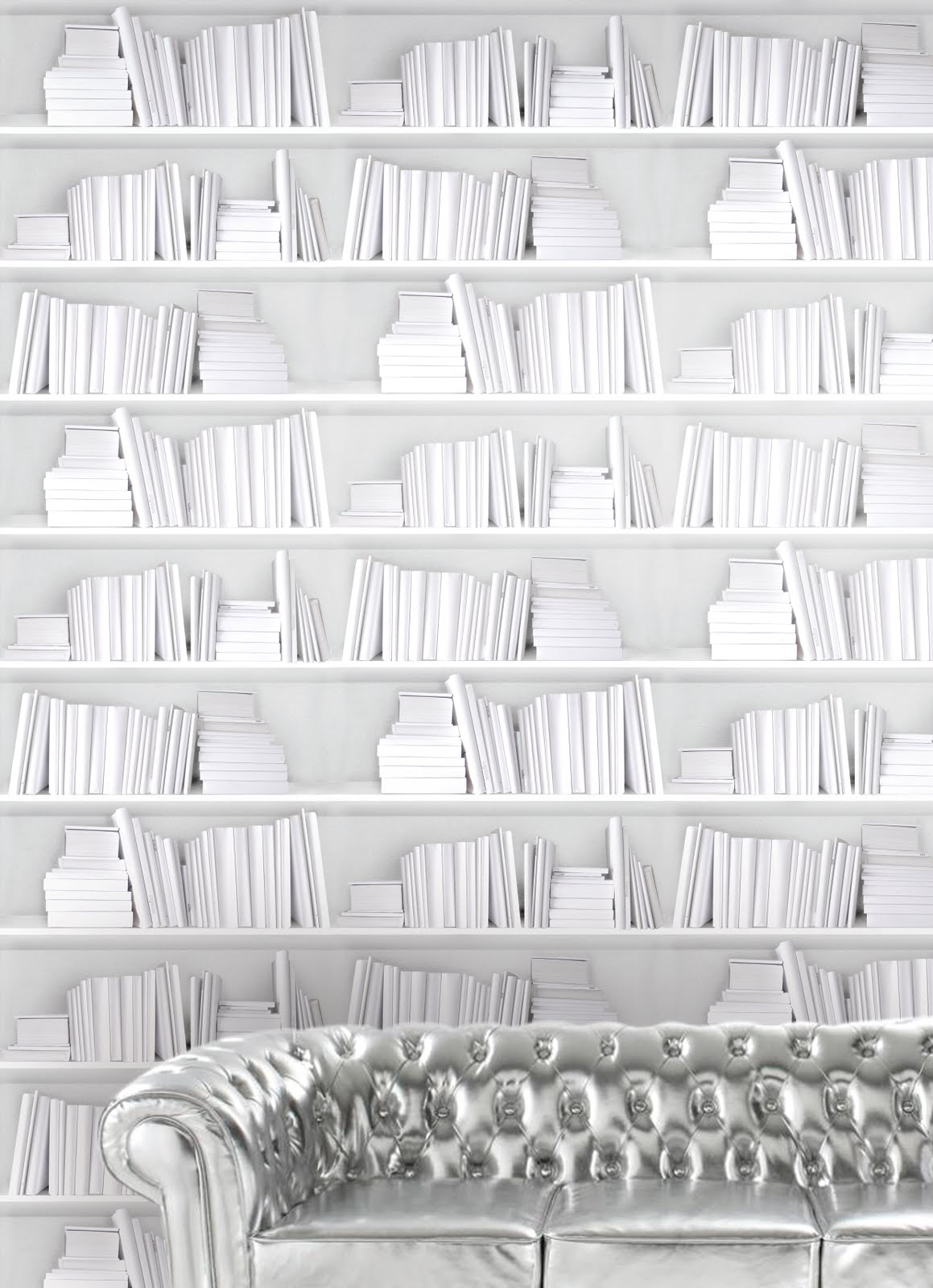 White bookshelf wallpaper by Y & B