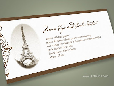Paris Theme Wedding Invitation