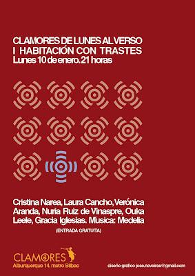 Recital poesía cartel sala clamores Lunes Alverso Gracia Iglesias Ouka Leele