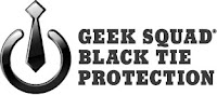 Geek Squad Black Tie Protection Logo on White Universal Power Symbol with Tie from Best Buy