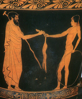Man presents a cut of meat to a youth with a hoop. Athenian red-figure vase, ca. 460 BCE