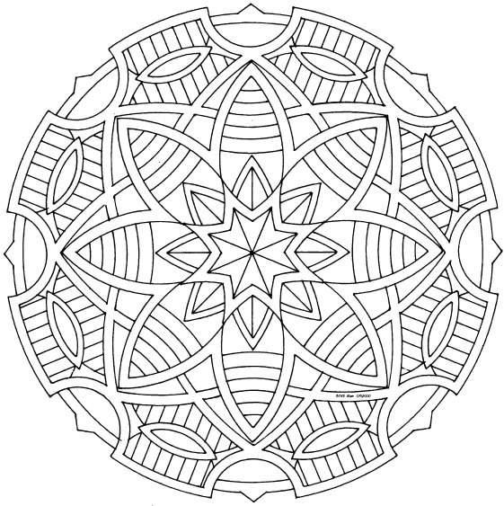 Famoso Páginas Simples Para Colorear Mandala Para Niños