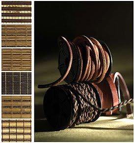 leather woven wood blinds