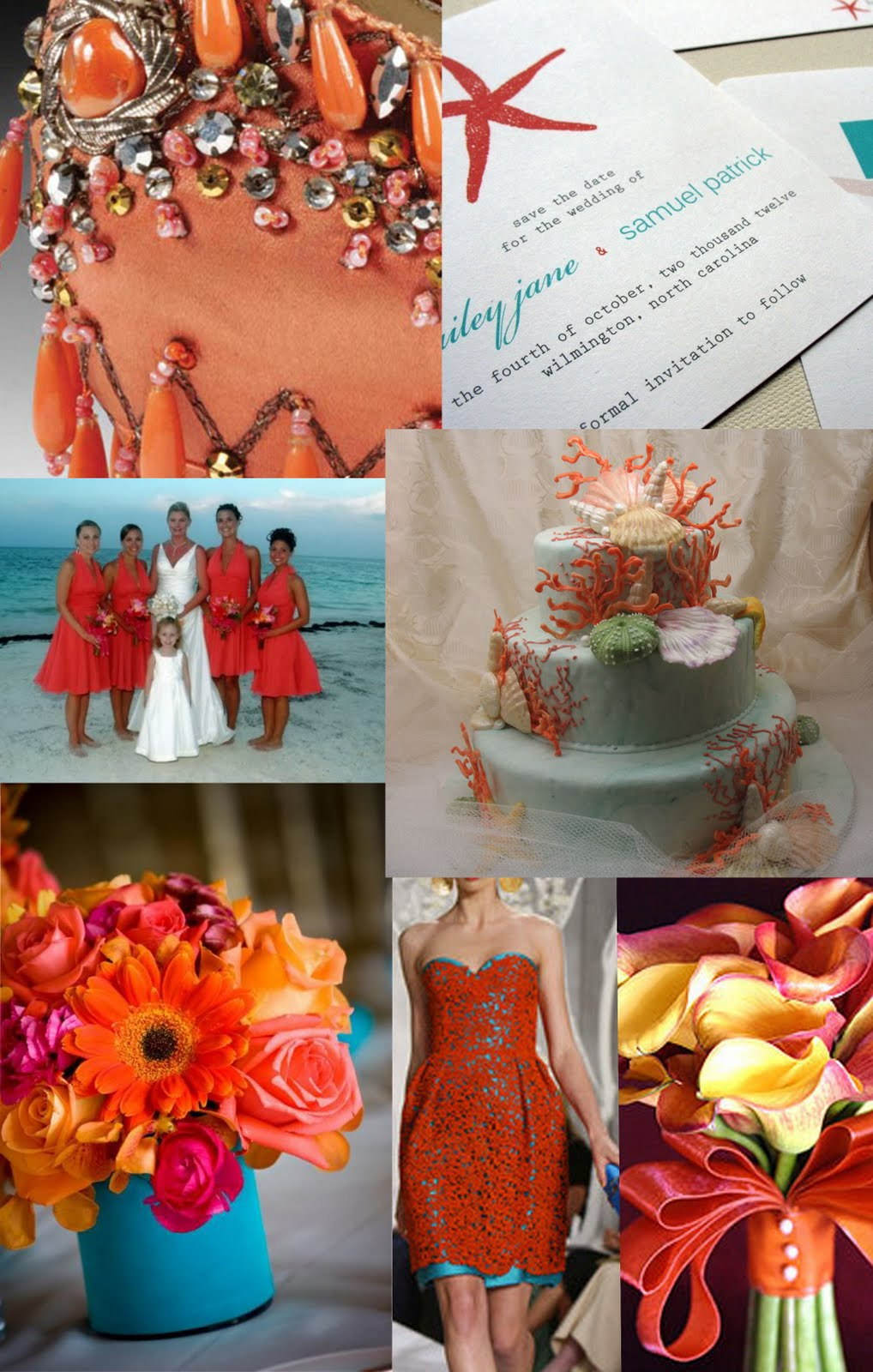 Weddingzilla Wedding Inspiration Board Coral And Turquoise Blue