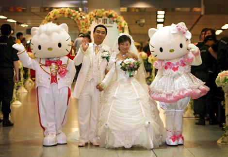 "Maybe our wedding theme will be ""Hello Kitty Wedding"""