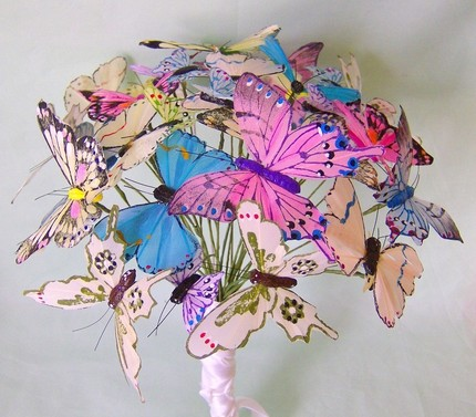 Butterflies make up this unique wedding bouquet by idotakeu on Etsy and are
