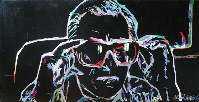Reproduction of a scene from the movie Casino featuring a colorful portrait of robert deniro on a black background.
