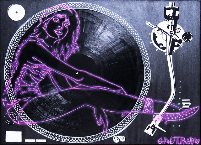 Surreal painting of a glowing outline of pink woman sitting on a pop art style painted technics turntable.