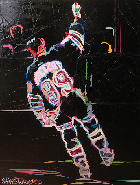 Commissioned painting by Montreal based Canadian artist Shane Turner of NHL player Wayne Gretzky in a psychadelic color way on a skated on texture ice looking background.