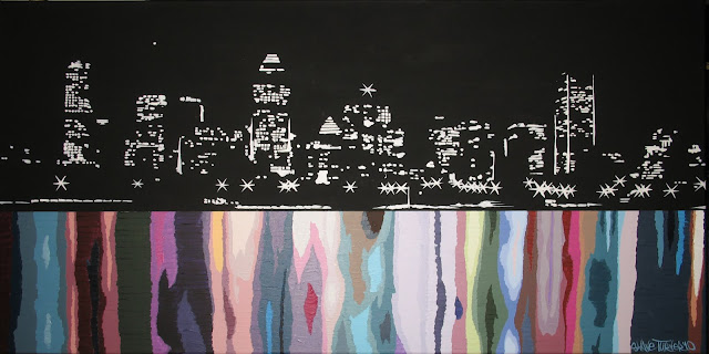Painting of the skyline of downtown Montreal in a semi abstract style with colorful water scene.