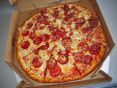Here is our large 1-topping pizza. We had the Chicago Deep Dish crust ...