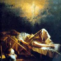 Cuadro en el que se representa a los padres Miguel en el momento de ver las dos piernas