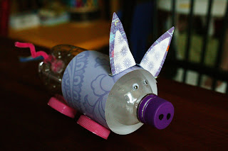 how to make a pig out of plastic bottle