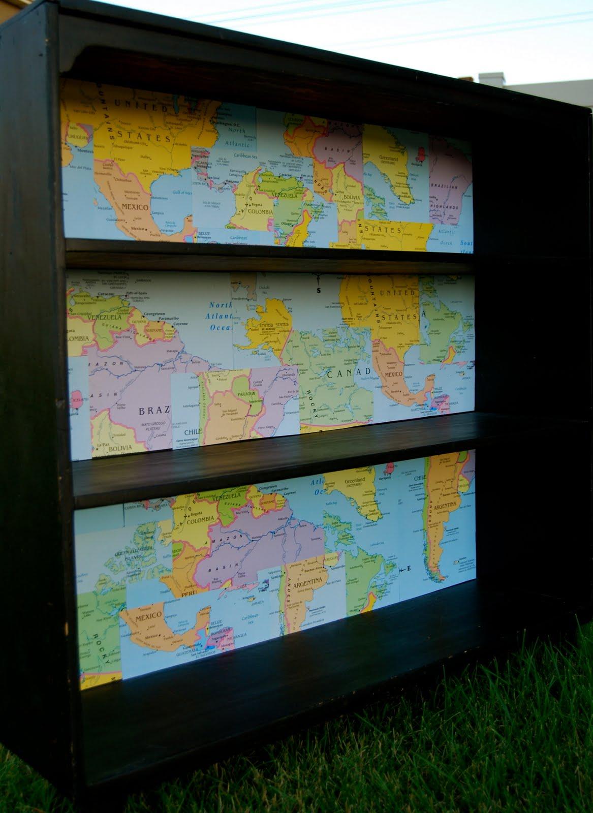 Vermillion Rules Yard Sale Bookcase Plus Dollar Store Maps
