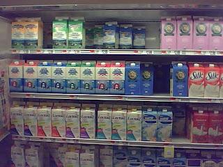 Selection of organic milks at Market Basket