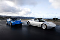 Photo of two Tesla Roadsters in blue and white