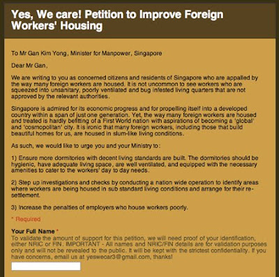 Petition to Improve Foreign Workers' Housing.