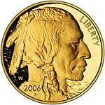 Obverse of American buffalo 24 karat coin
