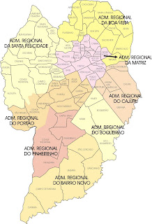 Brazil Curitiba map of city administrative regions