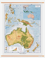 Physical wall map of Australia
