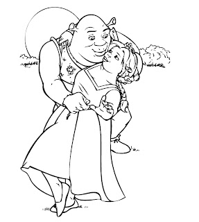 Free Shrek coloring pages with Fiona