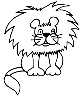 Black and white clip art of lions
