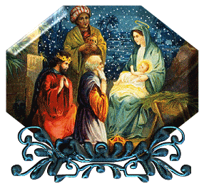 Animated snowing nativity clip art image