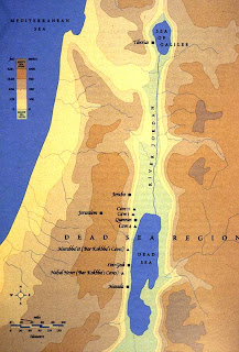 Closeup Dead Sea map in the Westbank and Israel