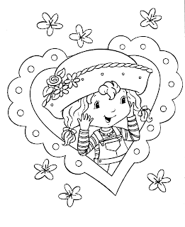Strawberry shortcake coloring pages with heart shaped border