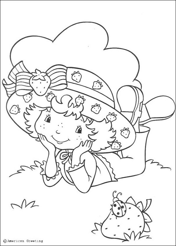 Strawberry Shortcake coloring pages on lawn with ladybug title=