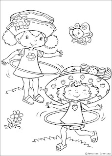 Strawberry Shortcake coloring pages with hula hoops!