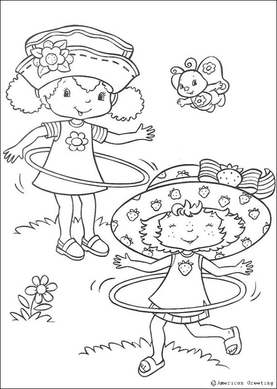 Strawberry Shortcake coloring pages with hula hoops! title=