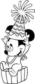 Baby Mickey Mouse celebrating birthday coloring pages