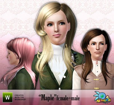 *free* Newsea Maple Male+Female Hairstyle. Download at The Sims Resource