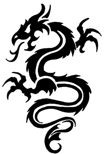 Dragon Tattoo Line Art. tribal dragon drawing