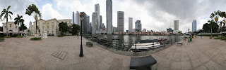 360 panorama of Singapore City from Raffles Landing Site