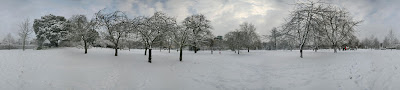 Panorama of Regents Park in London in snow, February 2009