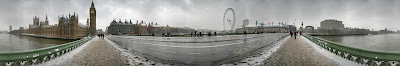 Panorama from Westminster Bridge in London in snow, February 2009