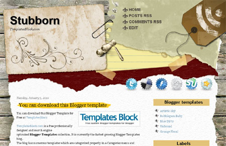 Stubborn Blogger Template
