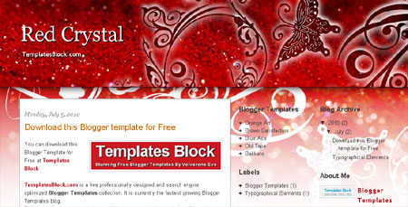 Free Blogger Red Crystal White Web2.0 Template