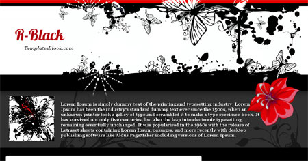 Black Butterfly Flowers Blogger Template