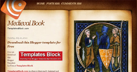 Medieval Book Style Web2.0 Blogger Template