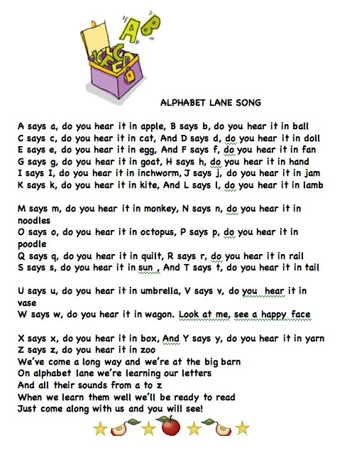 ALPHABET LANE SONG