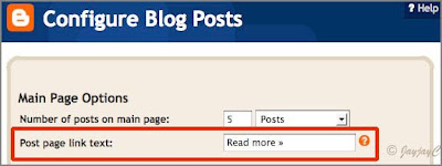 Screen shot of Configure blog posts