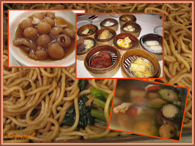 Noodles, yong tau foo, dim sum and hot longan with pak hup