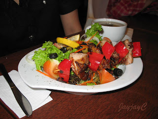 Olio Andalucia Skewer - skewered chicken with mixed grilled veggie, fresh greens and pasta