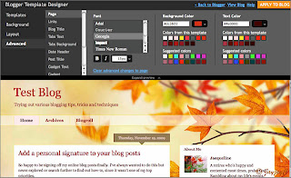 Screen shot of Blogger Template Designer