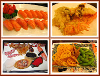 Photo collage of Japanese food, including sushi, tempura, fried lotus root, Japanese broad bean (soramame)