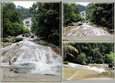 Upper and middle sections of Lata Kinjang Waterfall in Chenderiang, Perak